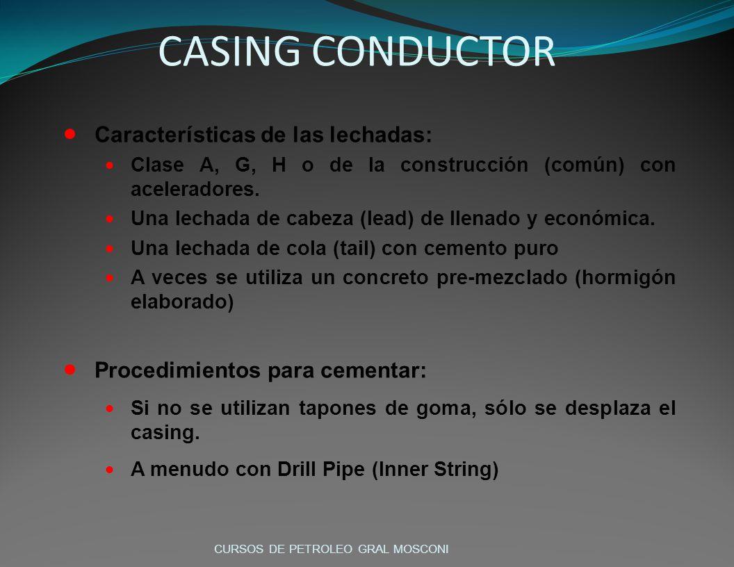 CASING CONDUCTOR Características de las lechadas: Clase A, G, H o de la construcción (común) con aceleradores. Una lechada de cabeza (lead) de llenado
