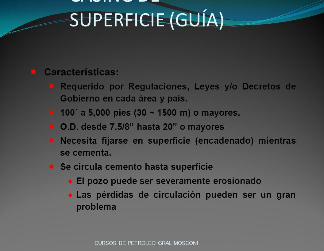 CASING DE SUPERFICIE (GUÍA) Características: Requerido por Regulaciones, Leyes y/o Decretos de Gobierno en cada área y país. 100´ a 5,000 pies (30 ~ 1