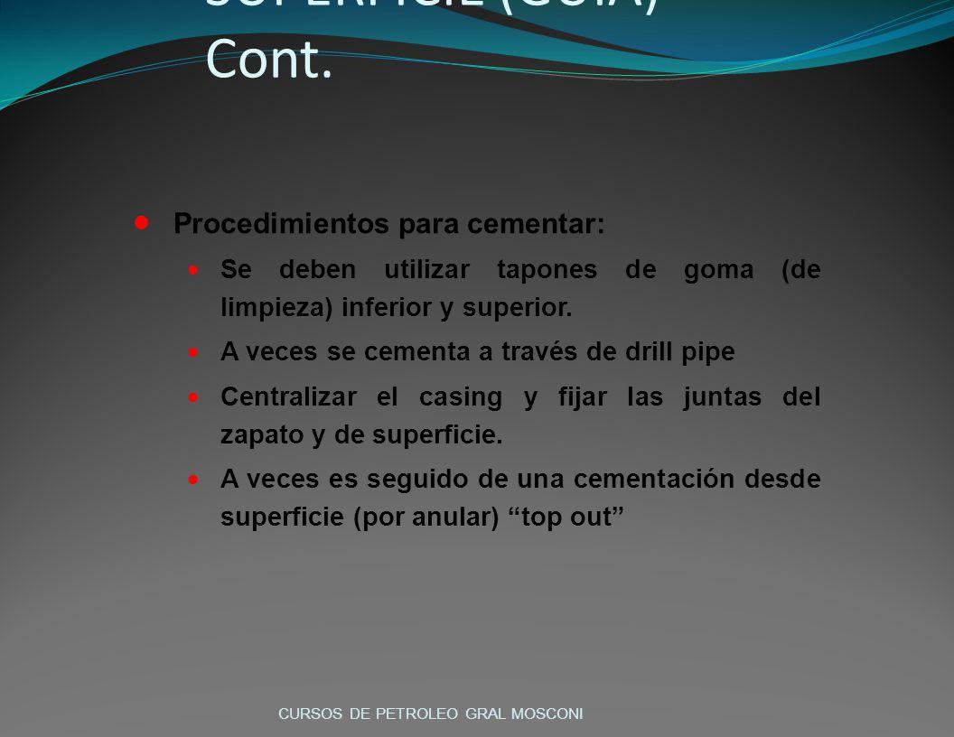 Procedimientos para cementar: Se deben utilizar tapones de goma (de limpieza) inferior y superior.