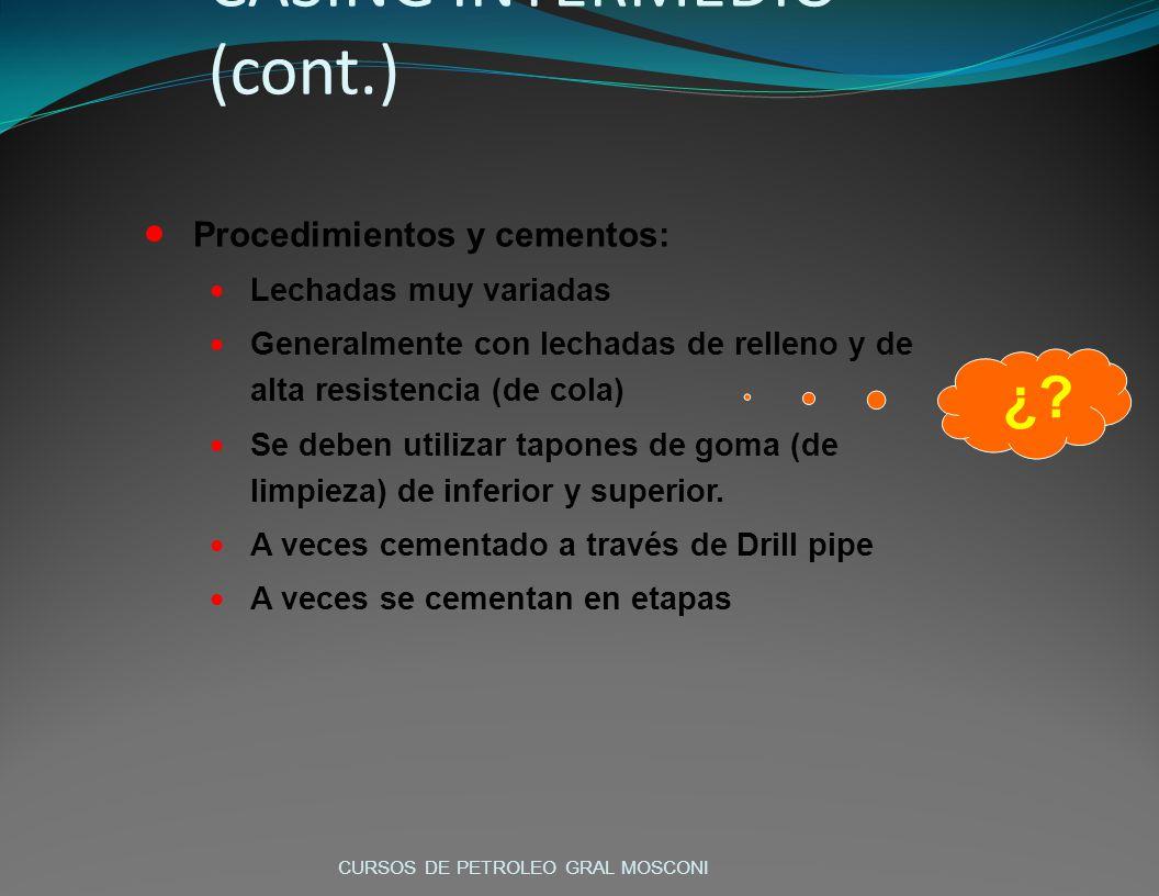 Procedimientos y cementos: Lechadas muy variadas Generalmente con lechadas de relleno y de alta resistencia (de cola) Se deben utilizar tapones de gom