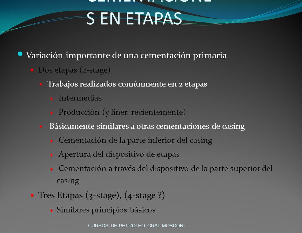 CEMENTACIONE S EN ETAPAS Variación importante de una cementación primaria Dos etapas (2-stage) Trabajos realizados comúnmente en 2 etapas Intermedias Producción (y liner, recientemente) Básicamente similares a otras cementaciones de casing Cementación de la parte inferior del casing Apertura del dispositivo de etapas Cementación a través del dispositivo de la parte superior del casing Tres Etapas (3-stage), (4-stage ?) Similares principios básicos CURSOS DE PETROLEO GRAL MOSCONI