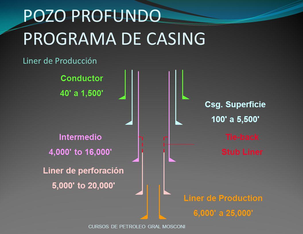 Conductor 40' a 1,500' Csg. Superficie 100' a 5,500' Intermedio 4,000' to 16,000' Liner de perforación 5,000' to 20,000' Liner de Production 6,000' a