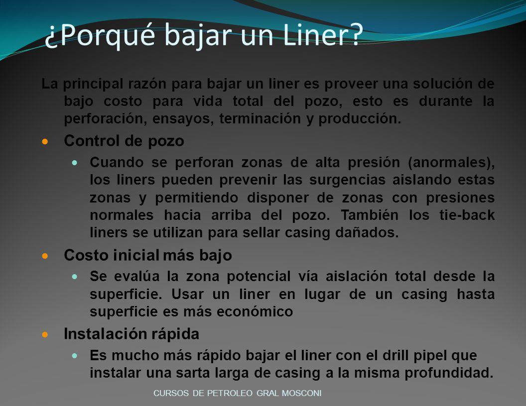 ¿Porqué bajar un Liner? La principal razón para bajar un liner es proveer una solución de bajo costo para vida total del pozo, esto es durante la perf