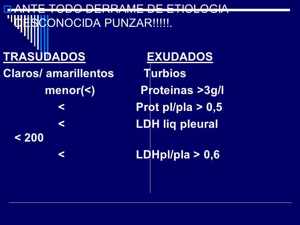 ANTE TODO DERRAME DE ETIOLOGIA DESCONOCIDA PUNZAR!!!!!. TRASUDADOS EXUDADOS Claros/ amarillentos Turbios menor( 3g/l 0,5 < LDH liq pleural < 200 0,6