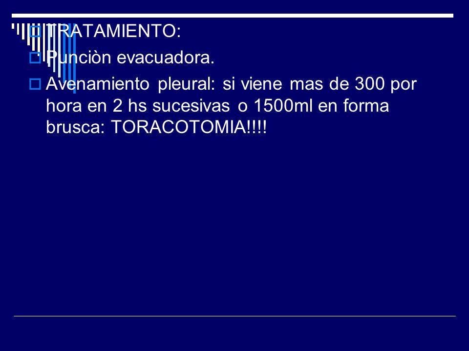 TRATAMIENTO: Punciòn evacuadora. Avenamiento pleural: si viene mas de 300 por hora en 2 hs sucesivas o 1500ml en forma brusca: TORACOTOMIA!!!!