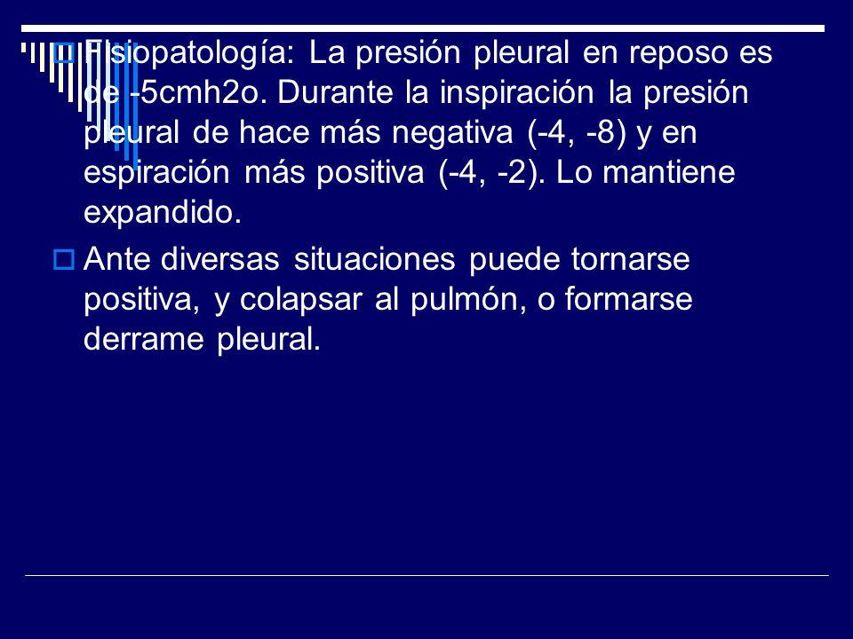 Fisiopatología: La presión pleural en reposo es de -5cmh2o. Durante la inspiración la presión pleural de hace más negativa (-4, -8) y en espiración má