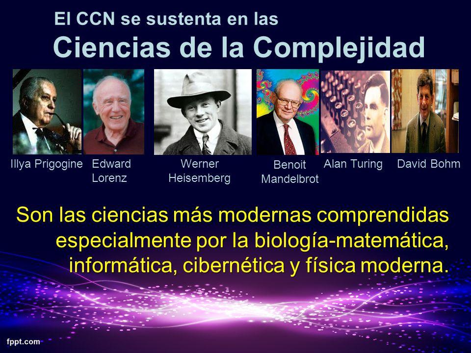 El CCN se sustenta en las Ciencias de la Complejidad Son las ciencias más modernas comprendidas especialmente por la biología-matemática, informática,
