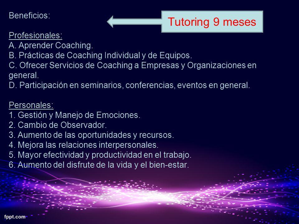 Profesionales: Personales: Beneficios: Profesionales: A. Aprender Coaching. B. Prácticas de Coaching Individual y de Equipos. C. Ofrecer Servicios de