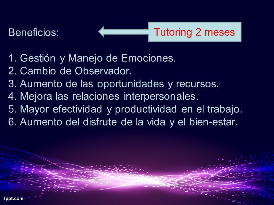 Beneficios: 1. Gestión y Manejo de Emociones. 2. Cambio de Observador. 3. Aumento de las oportunidades y recursos. 4. Mejora las relaciones interperso