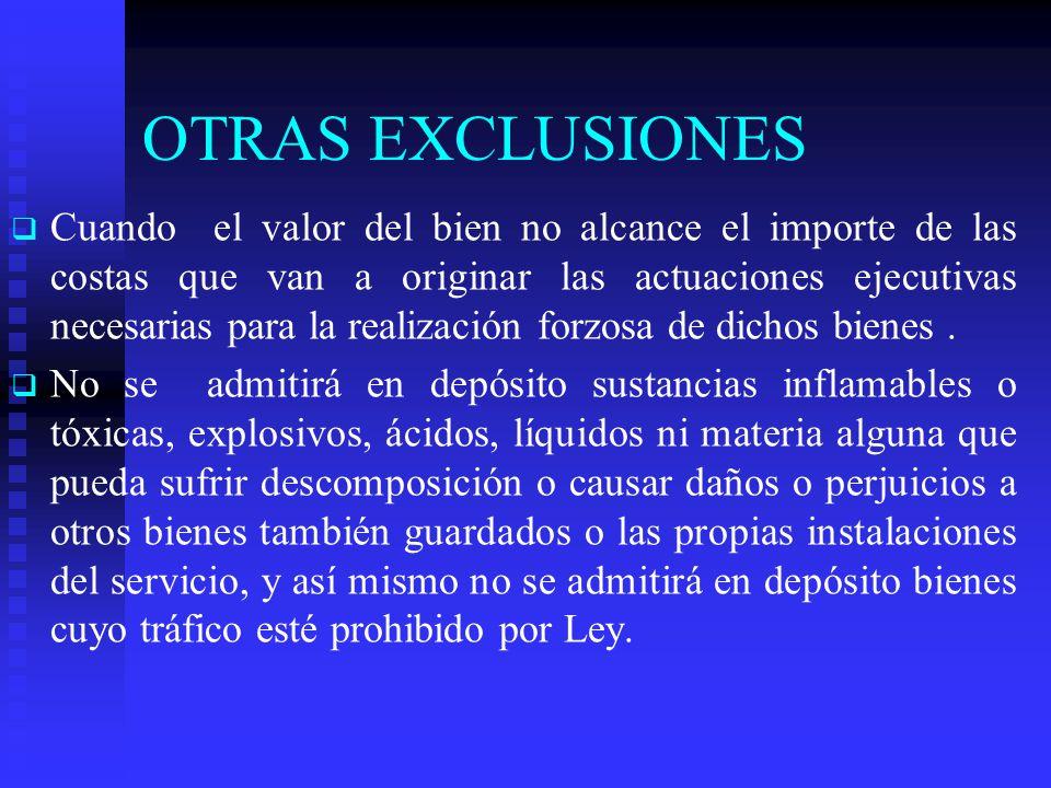 OTRAS EXCLUSIONES Cuando el valor del bien no alcance el importe de las costas que van a originar las actuaciones ejecutivas necesarias para la realización forzosa de dichos bienes.