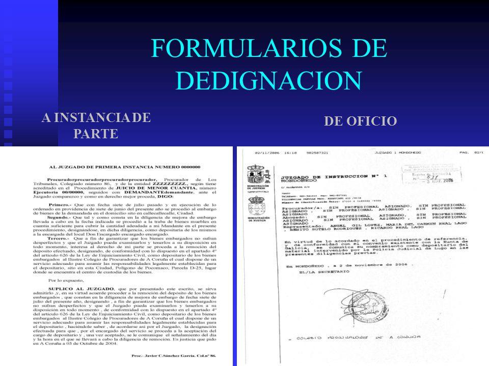 FORMULARIOS DE DEDIGNACION A INSTANCIA DE PARTE DE OFICIO