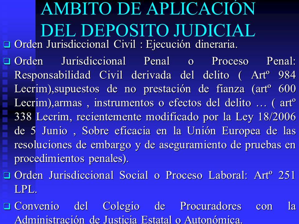AMBITO DE APLICACIÓN DEL DEPOSITO JUDICIAL Orden Jurisdiccional Civil : Ejecución dineraria.