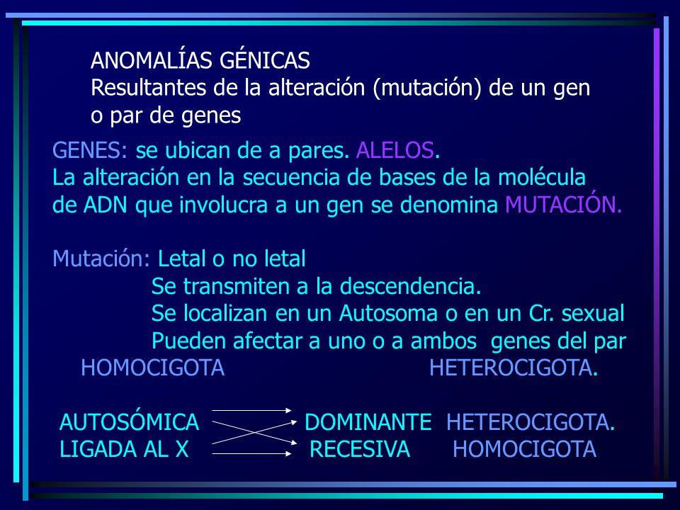 ANOMALÍAS GÉNICAS Resultantes de la alteración (mutación) de un gen o par de genes GENES: se ubican de a pares. ALELOS. La alteración en la secuencia