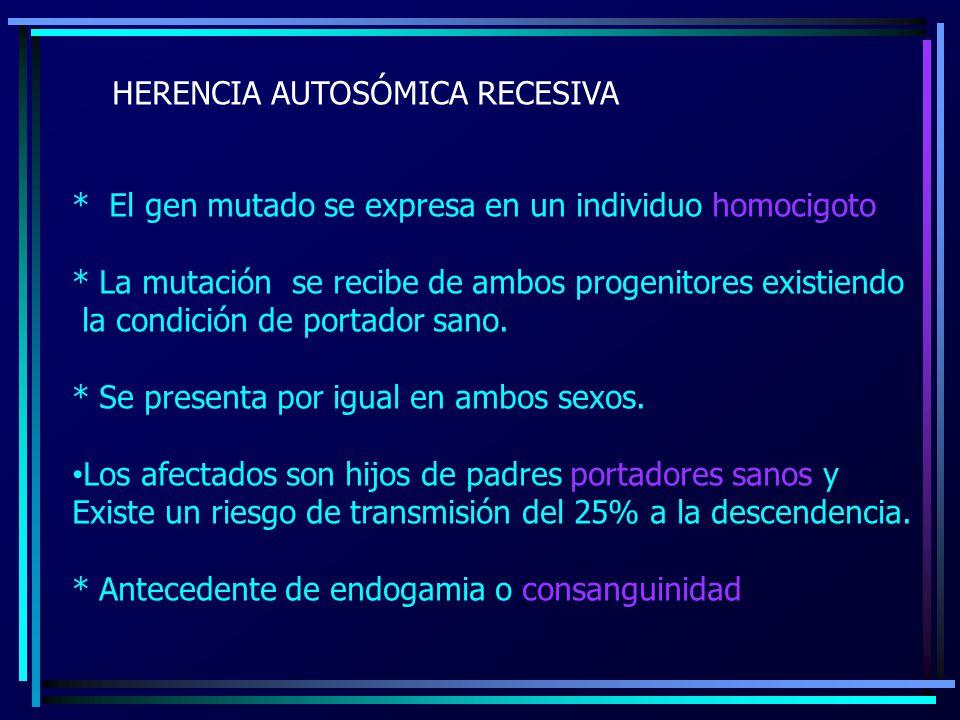 HERENCIA AUTOSÓMICA RECESIVA * El gen mutado se expresa en un individuo homocigoto * La mutación se recibe de ambos progenitores existiendo la condici