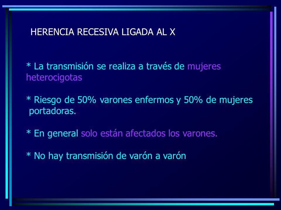 HERENCIA RECESIVA LIGADA AL X * La transmisión se realiza a través de mujeres heterocigotas * Riesgo de 50% varones enfermos y 50% de mujeres portador