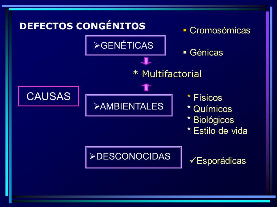 CAUSAS GENÉTICAS AMBIENTALES Cromosómicas Génicas DESCONOCIDAS * Físicos * Químicos * Biológicos * Estilo de vida Esporádicas * Multifactorial DEFECTO