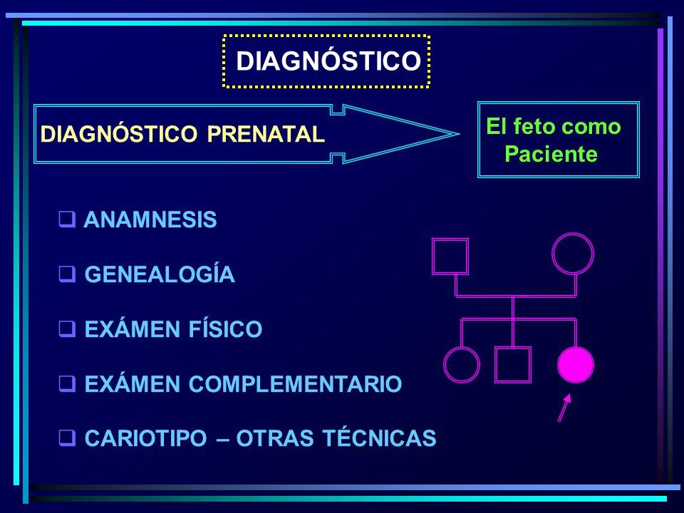 DIAGNÓSTICO DIAGNÓSTICO PRENATAL El feto como Paciente ANAMNESIS GENEALOGÍA EXÁMEN FÍSICO EXÁMEN COMPLEMENTARIO CARIOTIPO – OTRAS TÉCNICAS