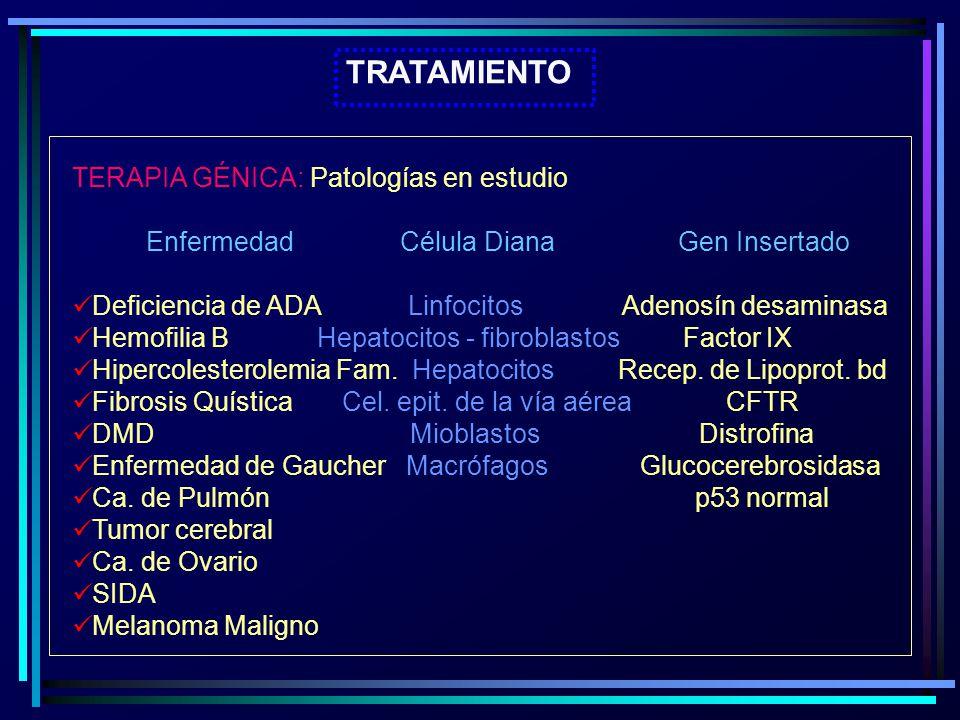 TRATAMIENTO TERAPIA GÉNICA: Patologías en estudio Enfermedad Célula Diana Gen Insertado Deficiencia de ADA Linfocitos Adenosín desaminasa Hemofilia B