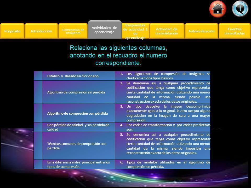 Actividades de aprendizaje Respuestas Actividad 1 Actividad 2 D I S E Ñ O P U B L I C I T A R I O Actividades de aprendizaje Actividades de aprendizaje Propósito Introducción Actividad de consolidación Actividad de consolidación Fuentes consultadas Fuentes consultadas Compresión de Imágenes Compresión de Imágenes Respuestas Autoevaluación Compresión de Imágenes