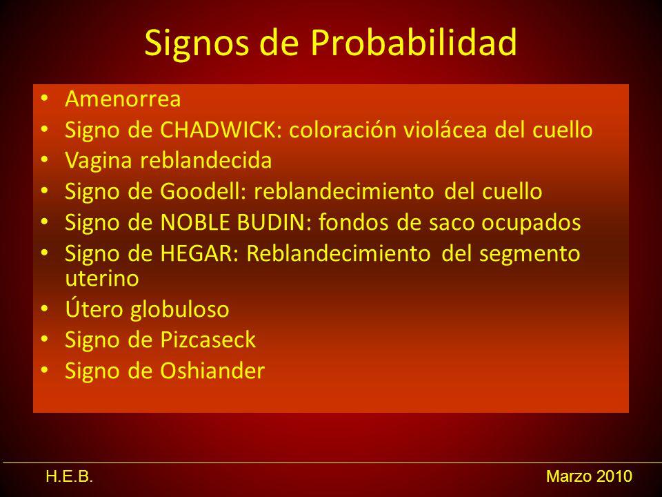 H.E.B.Marzo 2010 Signos de Probabilidad Amenorrea Signo de CHADWICK: coloración violácea del cuello Vagina reblandecida Signo de Goodell: reblandecimi