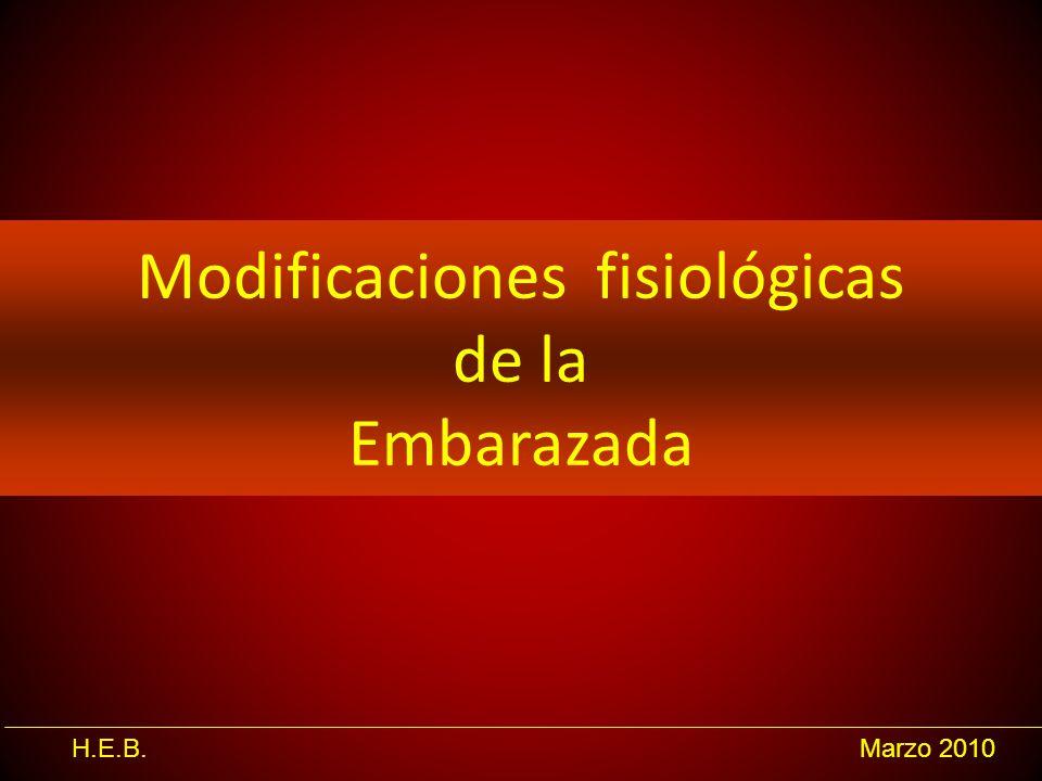 H.E.B.Marzo 2010 Modificaciones fisiológicas de la Embarazada