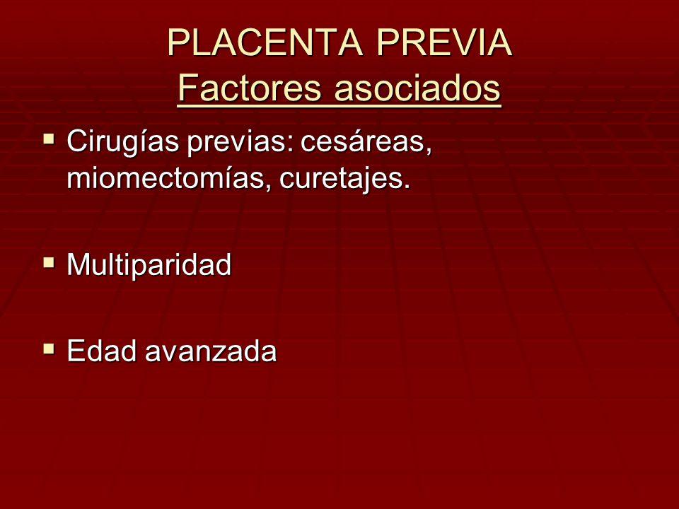 PLACENTA PREVIA Factores asociados Cirugías previas: cesáreas, miomectomías, curetajes. Cirugías previas: cesáreas, miomectomías, curetajes. Multipari