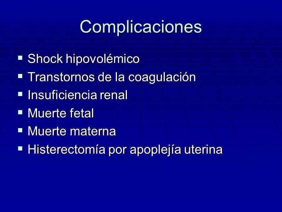 Complicaciones Shock hipovolémico Shock hipovolémico Transtornos de la coagulación Transtornos de la coagulación Insuficiencia renal Insuficiencia ren
