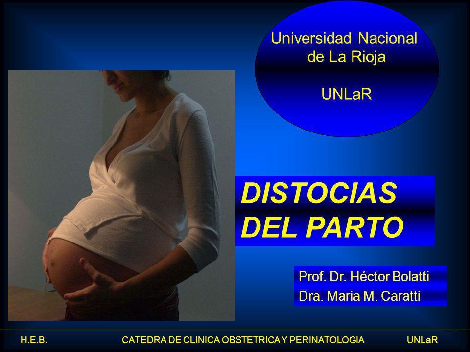 H.E.B. CATEDRA DE CLINICA OBSTETRICA Y PERINATOLOGIA UNLaR DISTOCIAS DEL PARTO Prof. Dr. Héctor Bolatti Dra. Maria M. Caratti Universidad Nacional de