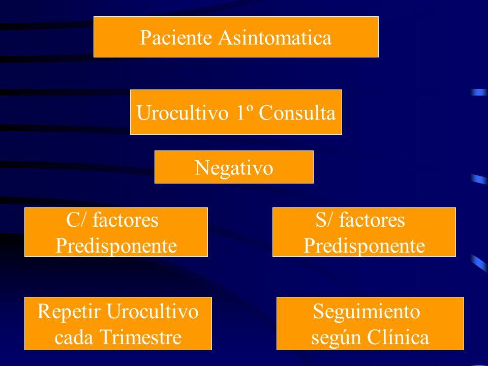 Paciente Asintomatica Urocultivo 1º Consulta Negativo C/ factores Predisponente Repetir Urocultivo cada Trimestre Seguimiento según Clínica S/ factore