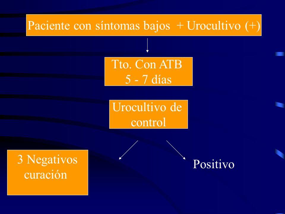 Paciente con síntomas bajos + Urocultivo (+) 3 Negativos curación Urocultivo de control Tto. Con ATB 5 - 7 días Positivo