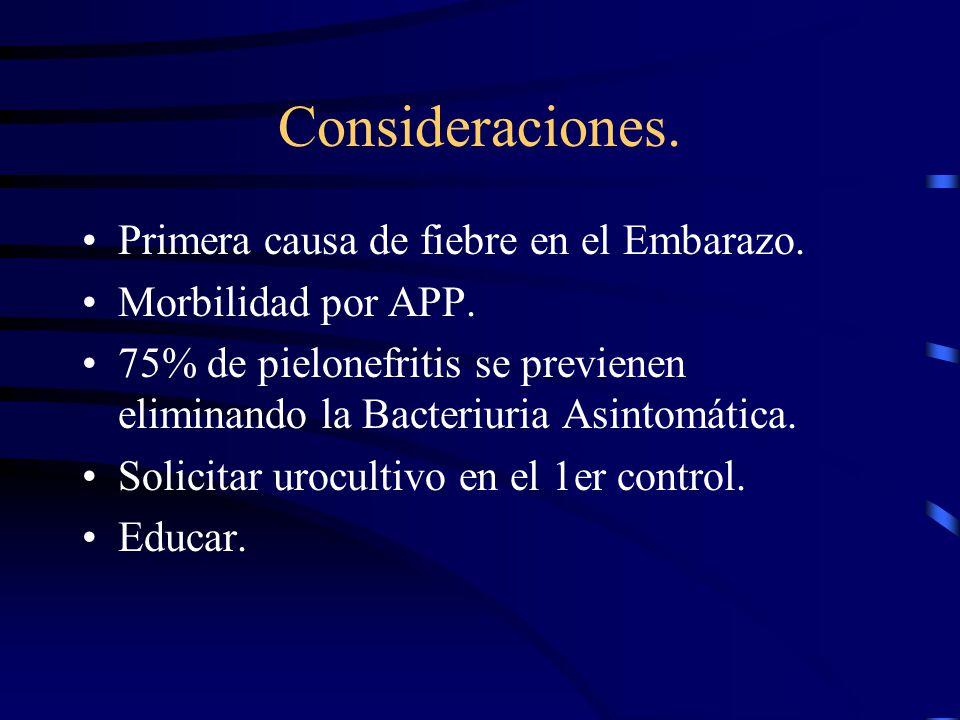 Consideraciones. Primera causa de fiebre en el Embarazo. Morbilidad por APP. 75% de pielonefritis se previenen eliminando la Bacteriuria Asintomática.