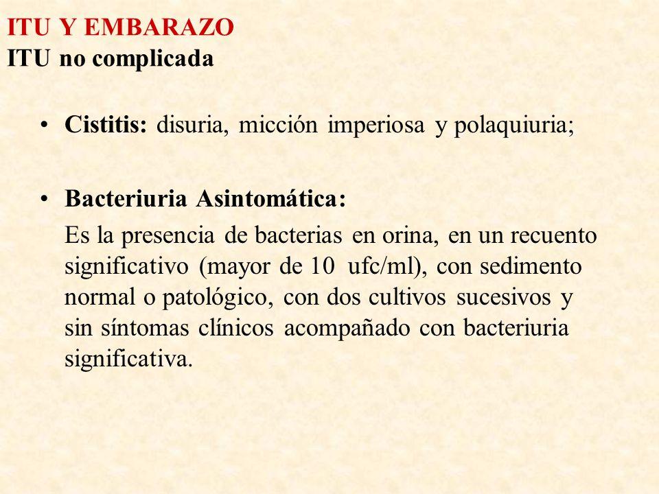 ITU Y EMBARAZO ITU no complicada Cistitis: disuria, micción imperiosa y polaquiuria; Bacteriuria Asintomática: Es la presencia de bacterias en orina,