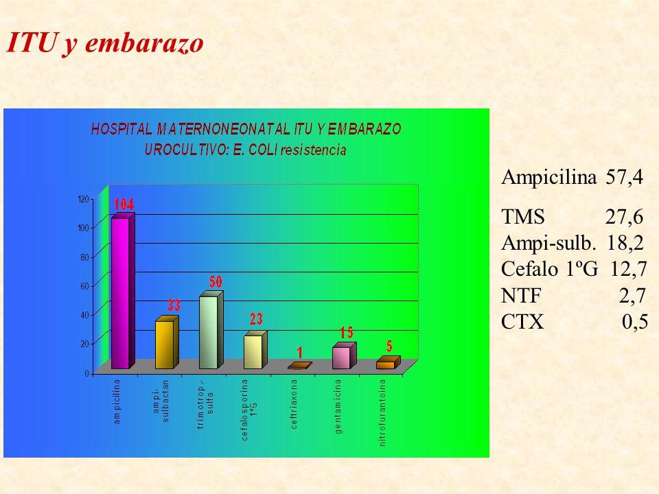 Ampicilina 57,4 TMS 27,6 Ampi-sulb. 18,2 Cefalo 1ºG 12,7 NTF 2,7 CTX 0,5