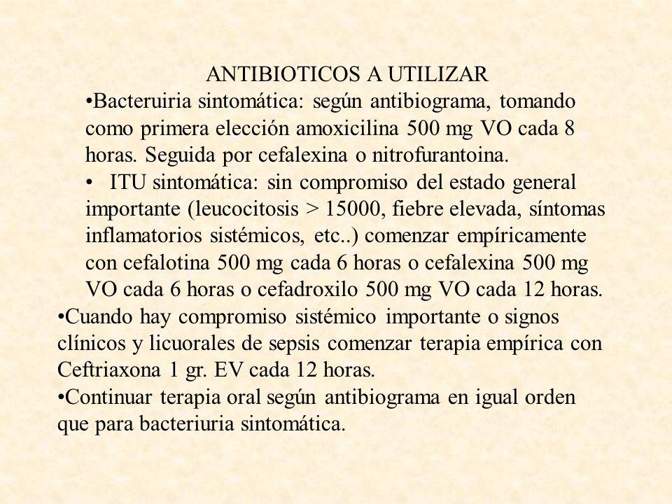 ANTIBIOTICOS A UTILIZAR Bacteruiria sintomática: según antibiograma, tomando como primera elección amoxicilina 500 mg VO cada 8 horas. Seguida por cef