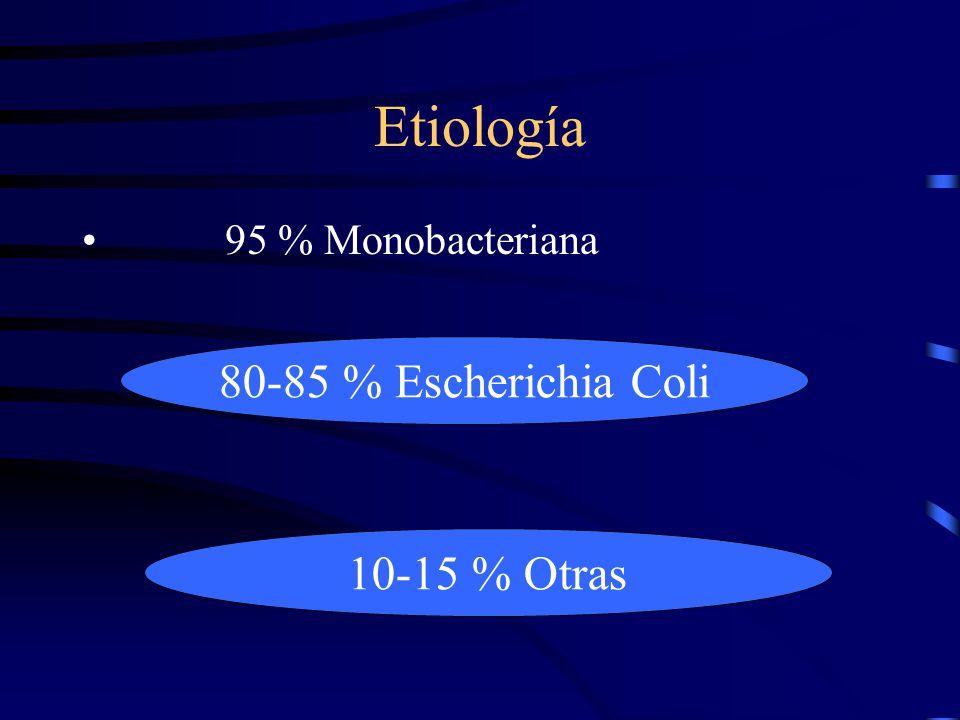 Etiología 95 % Monobacteriana 80-85 % Escherichia Coli 10-15 % Otras