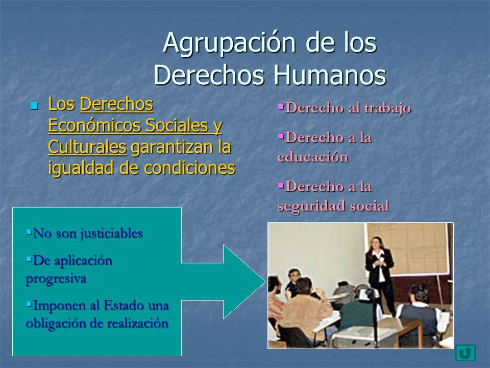 Agrupación de los Derechos Humanos Los Derechos Económicos Sociales y Culturales garantizan la igualdad de condiciones Los Derechos Económicos Sociale