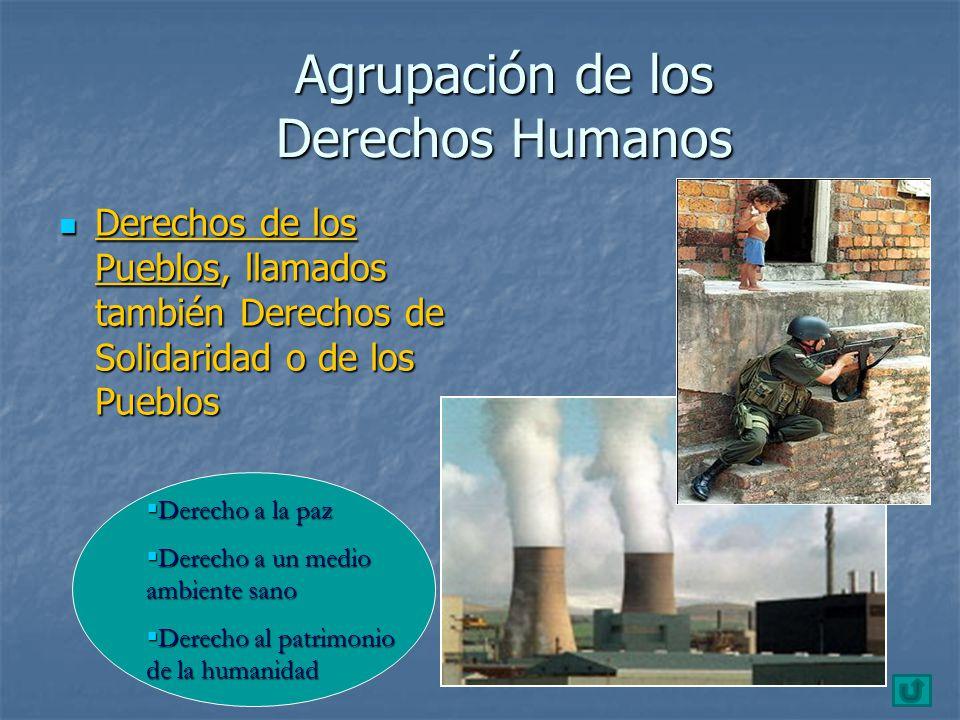 Agrupación de los Derechos Humanos Derechos de los Pueblos, llamados también Derechos de Solidaridad o de los Pueblos Derechos de los Pueblos, llamado