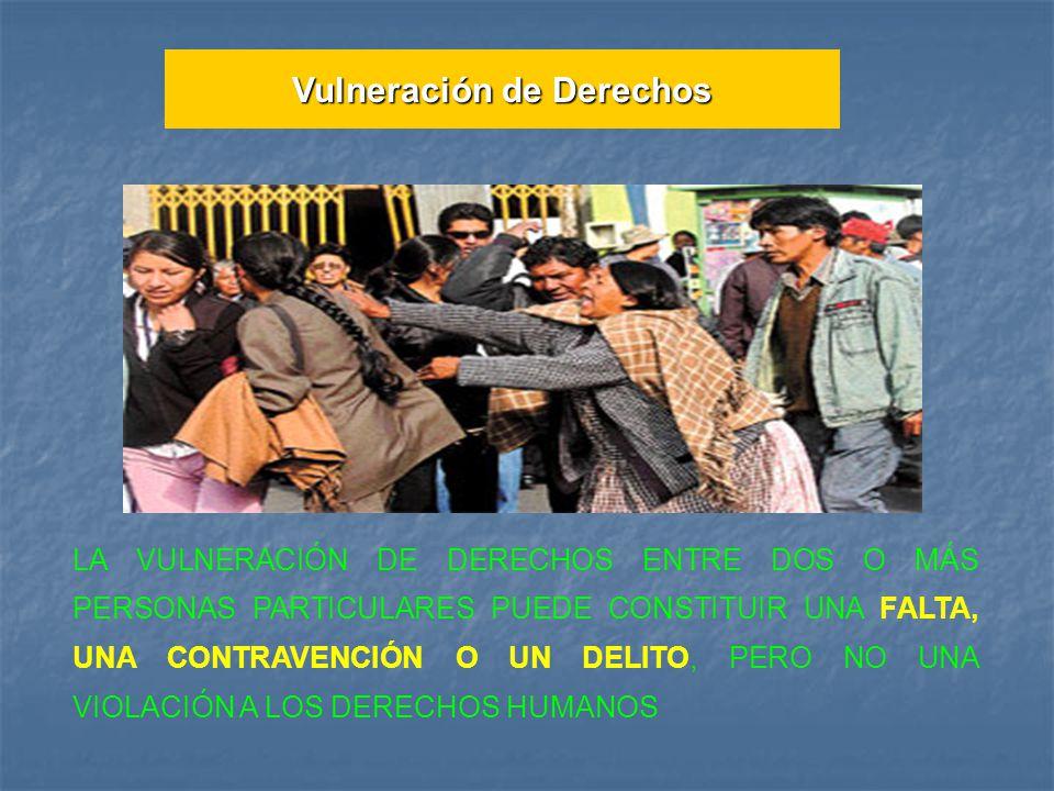 LA VULNERACIÓN DE DERECHOS ENTRE DOS O MÁS PERSONAS PARTICULARES PUEDE CONSTITUIR UNA FALTA, UNA CONTRAVENCIÓN O UN DELITO, PERO NO UNA VIOLACIÓN A LOS DERECHOS HUMANOS Vulneración de Derechos