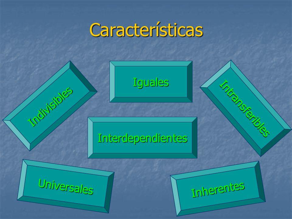 Características Iguales Indivisibles Interdependientes Universales Inherentes Intransferibles