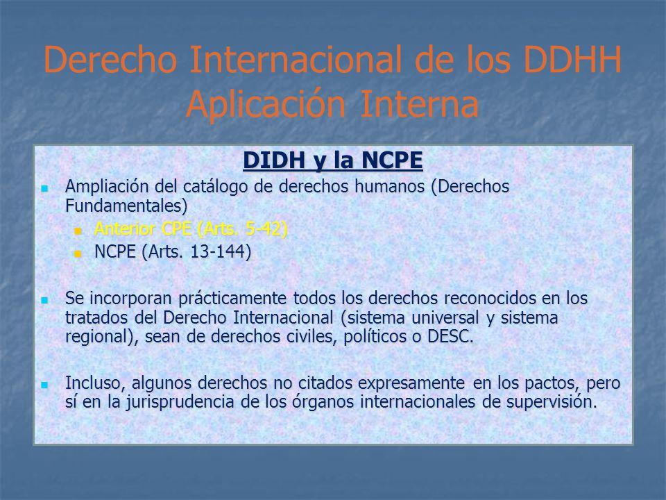 Derecho Internacional de los DDHH Aplicación Interna DIDH y la NCPE Ampliación del catálogo de derechos humanos (Derechos Fundamentales) Ampliación del catálogo de derechos humanos (Derechos Fundamentales) Anterior CPE (Arts.
