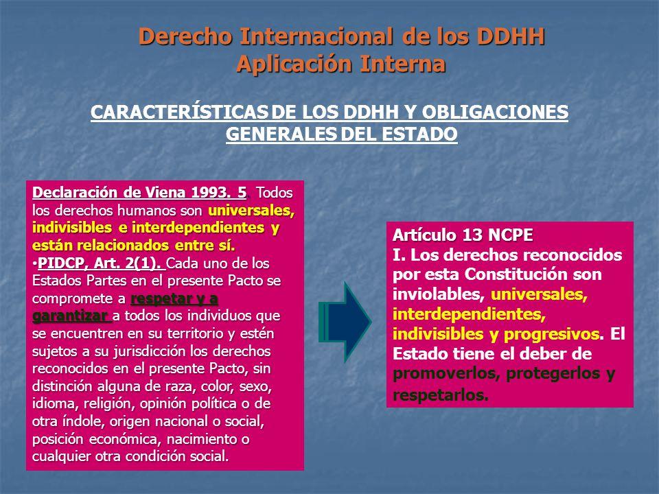 CARACTERÍSTICAS DE LOS DDHH Y OBLIGACIONES GENERALES DEL ESTADO Derecho Internacional de los DDHH Aplicación Interna Declaración de Viena 1993. 5. Tod