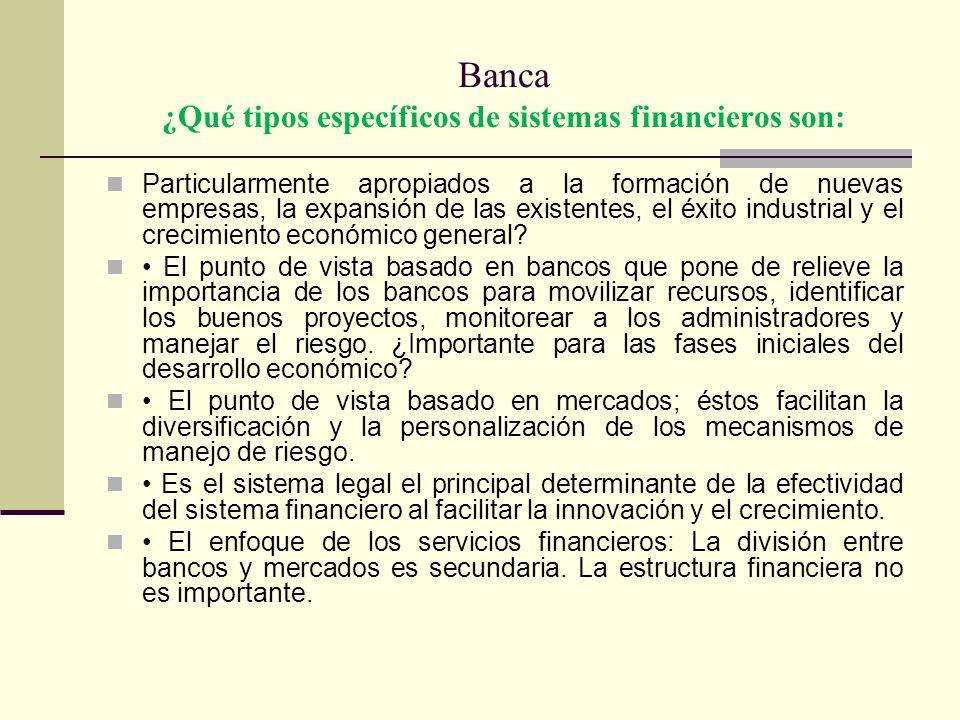 Banca ¿Qué tipos específicos de sistemas financieros son: Particularmente apropiados a la formación de nuevas empresas, la expansión de las existentes