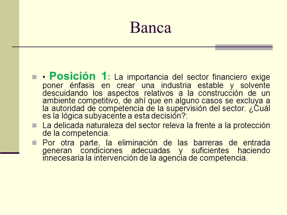 Banca Posición 1 : La importancia del sector financiero exige poner énfasis en crear una industria estable y solvente descuidando los aspectos relativ