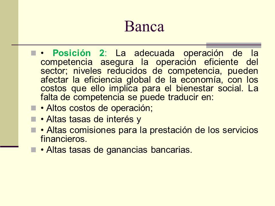 Banca Posición 2: La adecuada operación de la competencia asegura la operación eficiente del sector; niveles reducidos de competencia, pueden afectar