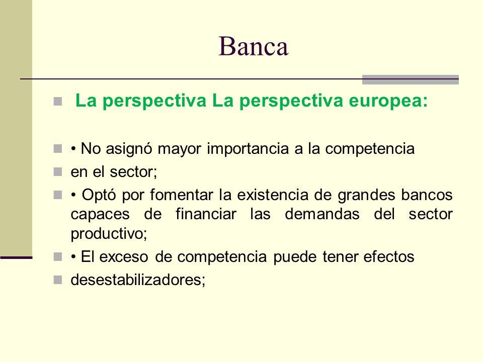 Banca La perspectiva La perspectiva europea: No asignó mayor importancia a la competencia en el sector; Optó por fomentar la existencia de grandes ban
