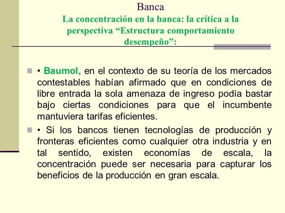 Banca La concentración en la banca: la crítica a la perspectiva Estructura comportamiento desempeño: Baumol, en el contexto de su teoría de los mercad