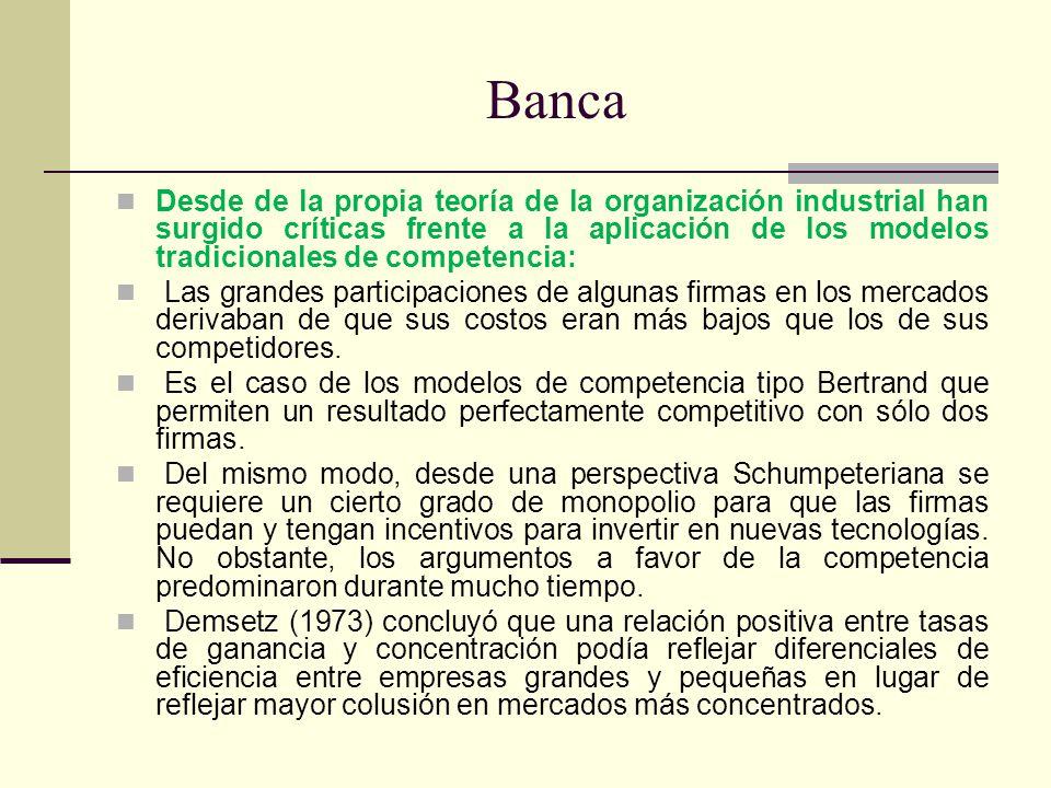 Banca Desde de la propia teoría de la organización industrial han surgido críticas frente a la aplicación de los modelos tradicionales de competencia: