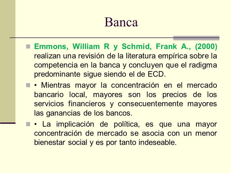 Banca Emmons, William R y Schmid, Frank A., (2000) realizan una revisión de la literatura empírica sobre la competencia en la banca y concluyen que el
