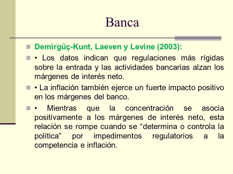 Banca Demirgüç-Kunt, Laeven y Levine (2003): Los datos indican que regulaciones más rígidas sobre la entrada y las actividades bancarias alzan los már