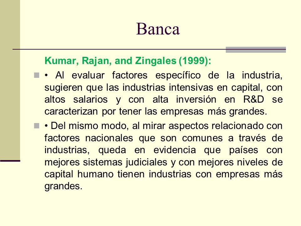 Banca Kumar, Rajan, and Zingales (1999): Al evaluar factores específico de la industria, sugieren que las industrias intensivas en capital, con altos
